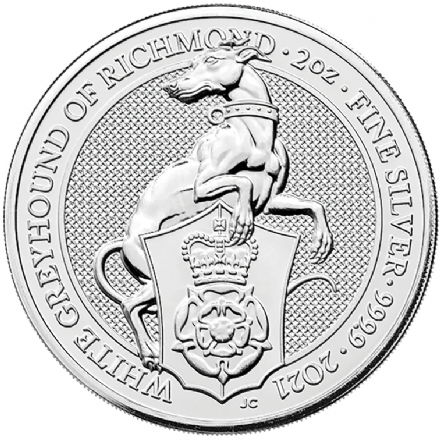 2021 Silver 2oz White Greyhound of Richmond-The Queen's Beast Series